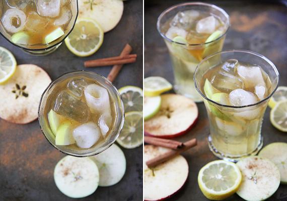 Almás bólé                         2 almát magozz ki és vágj apróra, majd szórd egy tálba. Tegyél rá 2 evőkanál citromlevet, 1/2 teáskanál fahéjat és tedd félre picit. 4 csésze almalevet 2 csésze almaborral és 1 csésze bourbonnal keverj össze, majd öntsd rá az almára. Ízlés szerint szórj bele jeget is.