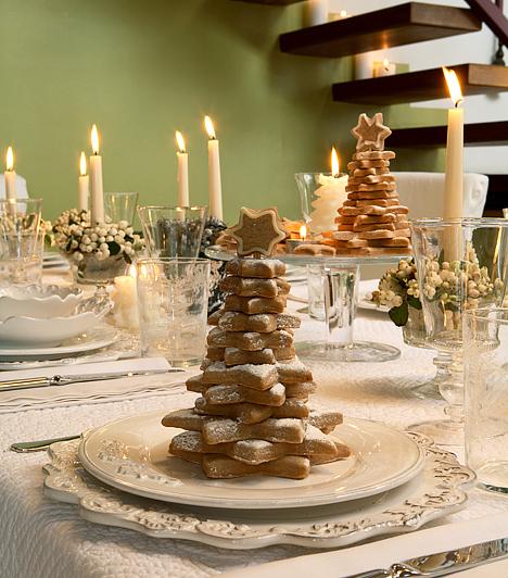 Csodás asztali dísz                         Az ünnepi asztal sem lesz egyhangú a fehértől: a hófehér, makulátlan abroszon nagyon jól mutatnak a fehér tányérok, ha azok elég izgalmasak. Az aranyozott szélű étkészlet, a tejüveg, az átlátszó poharak és a hóbogyóval megtöltött kis tálak, közepükön fehér gyertyákkal ünnepi hangulatot kölcsönöznek az asztalnak.