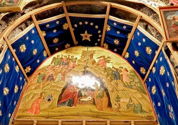A legenda szerint az oltár közvetlenül a Megváltó bölcsőjének a helyére épült, a freskó is ezt a pillanatot ábrázolja.