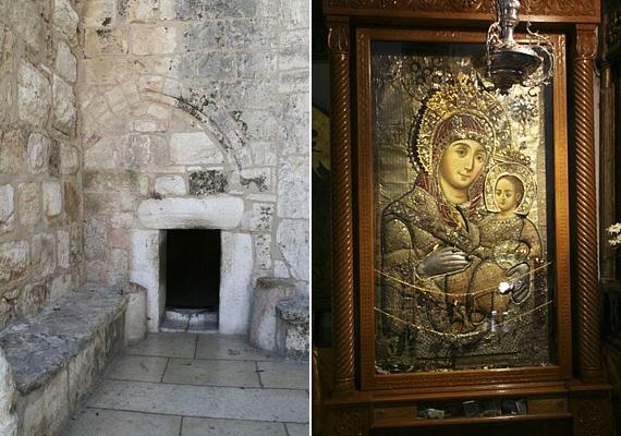 Az Alázatosság ajtaján keresztül lehet bejutni az építménybe, ahol számtalan olyan kép található, ami Szűz Máriát és a kis Jézust ábrázolja.