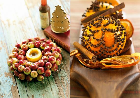 Nem muszáj a gyümölcsöstálra szorítkoznod, ha ilyen dekorációt készítesz. Egy almakoszorú vagy egy szegfűszeggel díszített narancs meglepő, de mutatós.