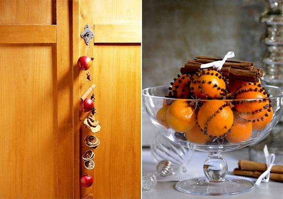 Az egymás mögé felszúrt gyümölcsök legalább annyira feldobják a szobát, mint a dohányzóasztal közepén álló, naranccsal teli üveg kínálótál.