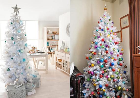 A fehér műfenyők sem minden esetben csúnyák. Ezt a képeken látható kék és színes üveggömbökkel díszített karácsonyfák is jól mutatják.