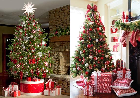 A klasszikus piros-zöld színkombináció mindig divatosnak számít. A bal oldali dekoráció picit modernebb, míg a jobb oldali inkább hagyományos stílust képvisel, de a maga nemében mindkettő csodaszép.