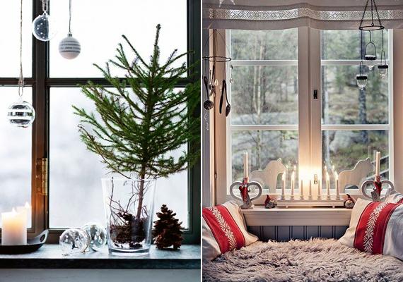 Ha széles a párkányod, azt is feldíszítheted, néhány fenyőág, illetve gyertya szépen mutat a jégvirágos ablak előtt.