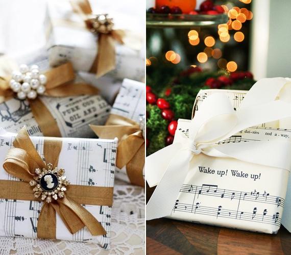 Hasonló megoldás az is, ha a régi énekkönyvedet szeded szét, és abból készítesz csomagolópapírt. Ez nagyon elegáns, kiváltképp, ha még szaténszalaggal és valamilyen kitűzővel is díszíted.