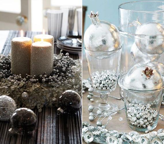 Inkább szín szerint készítenéd a dekorációt? Ezüstből több megoldást is összedobhatsz. A már kész adventi koszorú köré tekerj gyöngyös girlandot, vagy ha van otthon elfekvőben teklagyöngyöd, akkor szórd egy pohárba, és a tetejére biggyessz egy nagy ezüst gömböt.