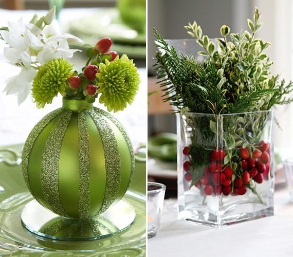 Ha élővirágot szeretnél az asztalon látni, akkor egyszerűen vágd le egy nem használt üveggömb tetejét, tölts bele vizet, és állítsd bele a virágot. A másik lehetőség, hogy engedj vizet egy üvegvázába, tegyél bele galagonyaágakat, a tetejébe pedig tűzz örökzöldeket.