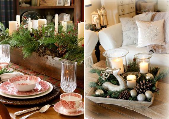 Téllel töltött ládikóHa van egy faládikód, esetleg magasabb peremű tálcád vagy fatálad, töltsd meg mindennel, ami tél: fenyőággal, tujaággal, illatmécsesekkel, karácsonyfadíszekkel, szaloncukorral, szalagokkal, szárított narancshéjjal, dióval. Rendezd el őket szimmetrikusan, és mehet is az asztal közepére!