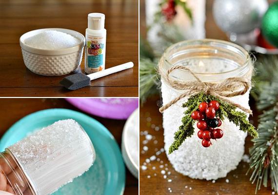 Kend be az üveg külsejét ragasztóval, majd fedd be sóval vagy cukorral. Köss egy masnit zsinórból a szája köré, és a kedved szerint csinosítsd.