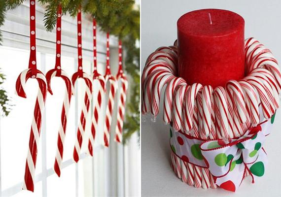 A karácsonyi nyalókát nemcsak megenni lehet, például felfüggesztve ablakdísznek is jó, de az előző fahéjas megoldáshoz hasonlóan a gyertyát is cukorkakoszorúba állíthatod.