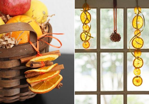 A szárított narancskarikákat nagyon sokféleképpen felhasználhatod, például egymásba fűzve akár ablakdíszként is.