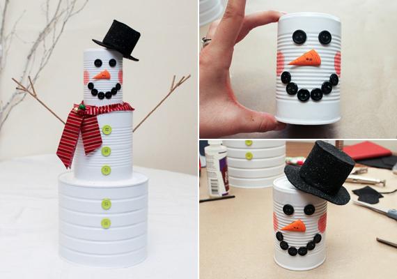 A kidobásra ítélt konzervdobozok megfesthetők és kidekorálhatók, így bármikor elkészítheted ezt a bájos hóembert, a gyerekek nagy örömére.