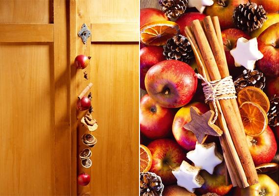 Az almákat, szárított narancsszeleteket és tobozokat felfűzheted egy erősebb damilra, de akár egy tálban összekeverve is jól mutatnak.
