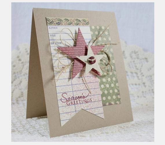 Egy egyszerű kartonlap, illetve néhány csillag füzet-, könyv- vagy újságpapír-bevonattal, rusztikus, mégis csodaszép.