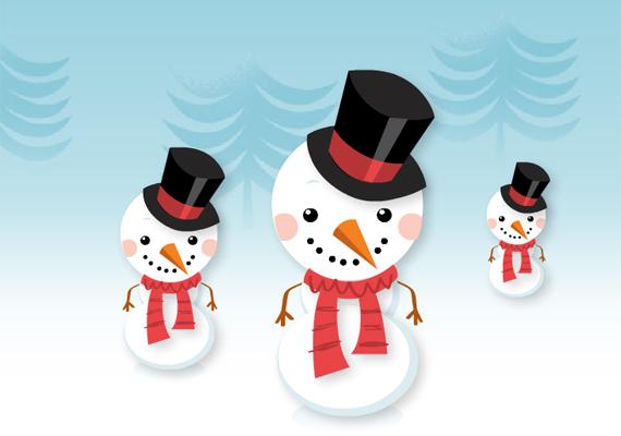 A hóemberek a gyerekkort idézik, ettől annyira bájosak. Itt találod a képeslapot.