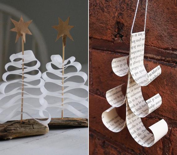 Karácsonyfát nagyon egyszerűen lehet készíteni. Az egyik megoldás, hogy egy papírcsíkot harmonikában ráhajtogatsz egy hurkapálcára, a másik, hogy a papírcsíkok végeit ceruzával meghajlítod, és összeragasztod.