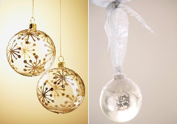 Karácsonyi üveggömbökből sokfélét lehet kapni - ha nem a fára szánod őket, csak dekorációnak, akkor akár tömör üveget is választhatsz.