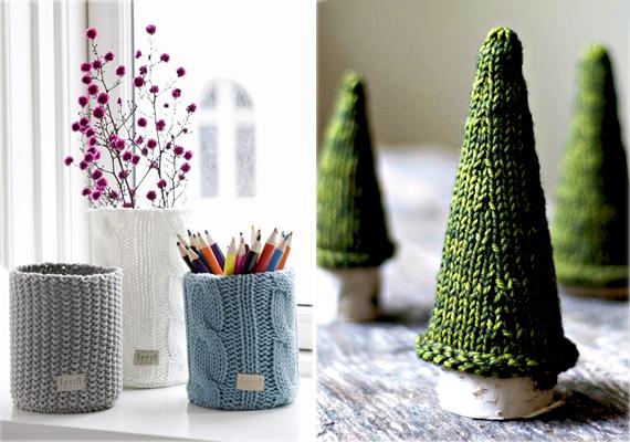 Üres befőttesüveget is egyszerűen karácsonyi ruhába öltöztethetsz, díszítheted különböző mintákkal, de akár csíkos vagy skandinávmintát is köthetsz. A kis karácsonyfákhoz pedig vékony faágakra és zöld fonalra lesz szükséged, a háromszög alakúra kötött darabokat varrd össze, és kész is a kis karácsonyfa sapkája.