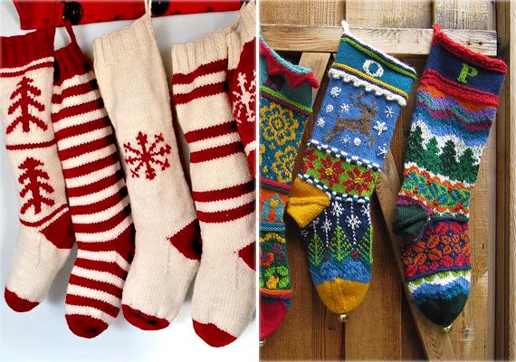 A karácsonyi zokni leginkább Amerikában és a skandináv országokban divat, de itthon is egyre népszerűbb. Nemcsak dekorációnak kiváló, de aranyos ajándékzacskónak is. Két színből is jól mutat, de ha nagyon sok a maradék fonal otthon, akkor a jobb oldali képen látható színes zoknik remek inspirációt adhatnak.