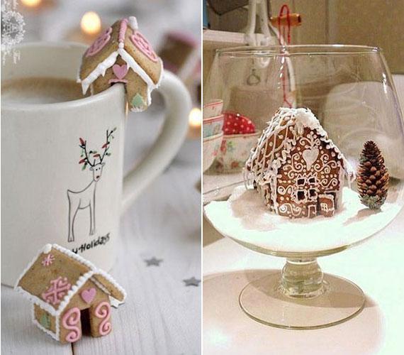 Apró mézeskalács-házikókkal akár a bögrédet is díszítheted, vagy csodaszép dekorációt készíthetsz, ha egy laposabb üvegpohár aljába helyezed a figurát. A havat porcukorral, míg a tájat tobozzal imitálhatod.