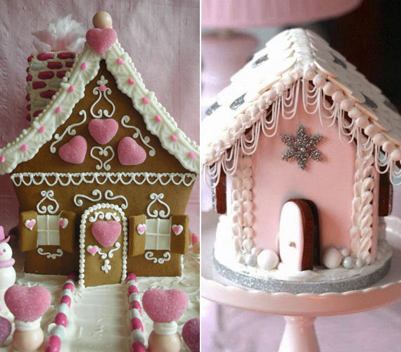 Romantikus mézeskalácsházak, ahol nemcsak a színek - fehér, rózsaszín -, hanem a szív formák is ezt tükrözik. A dekoráláshoz használhatsz cukorkákat vagy ételfestéket.