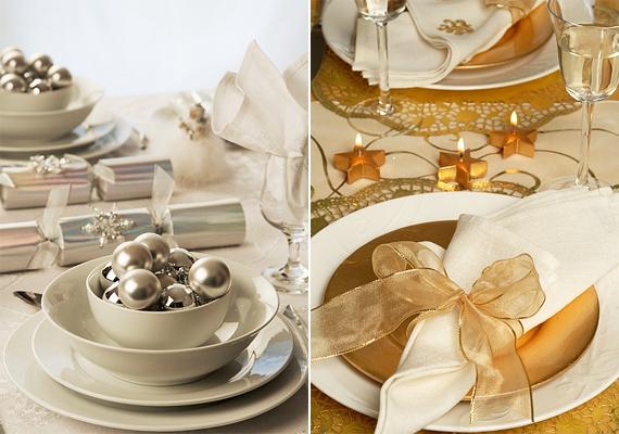 Nem muszáj élénk árnyalatokat használnod a terítésnél, az ezüst és az arany letisztult hangulatot kölcsönöz.