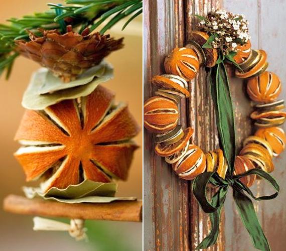 Szintén a narancs héjával játszva: egyszerűen vagdosd be egészen a gyümölcshúsig a narancsot, hagyd kiszáradni, majd tetszésednek megfelelő kompozícióba tűzd bele. Nem bonyolult, de annál látványosabb.