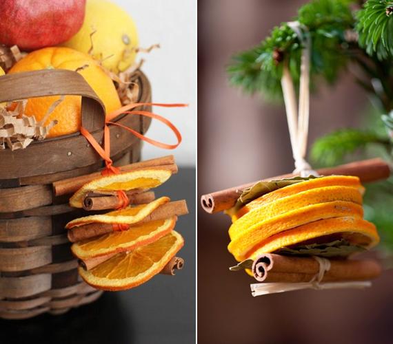 A narancskarikákat ilyen formában is hasznosíthatod. Ennek a dekorációnak a lényege, hogy minél több karika legyen egymáson.
