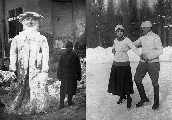 Balra egy gigantikus hóember 1917-ből, jobbra egy fess legény udvarol szíve hölgyének a jégpályán 1916-ban.