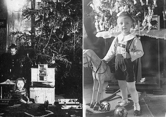 Balra: karácsonyi idill 1909-ből. Jobbra: az 1929-es fotón lévő kisfiú szüleit nem érinthette súlyosan a világgazdasági válság, legalábbis a karácsonyi ajándékokból ítélve.