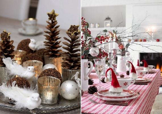 Termésekkel és üveg mécsestartóval erdei hangulatot teremthetsz az asztalon, piros-fehér dekorációval pedig tiszta és üde terítéket készíthetsz. A piros-fehér tányérok, csészék önmagukban is jól mutatnak, de valami apró meglepetéssel is megspékelheted az összhatást, mint például egy-egy mini Mikulás-sapka.