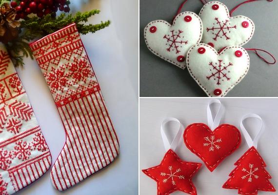 Norvégmintás zokni, karácsonyfadíszek filcből - ezeket te is elkészítheted, de meg is vásárolhatod. Szerencsére nem kell sokat pepecselni velük, egyszerűen kivágod a formát kétszer az anyagból, és szépen, egyenletesen összeöltöd őket, majd ollóval korrigálod a cakkokat. A díszeket, ha szeretnéd, megtöltheted vattával, és varrhatsz rájuk gombokat is.