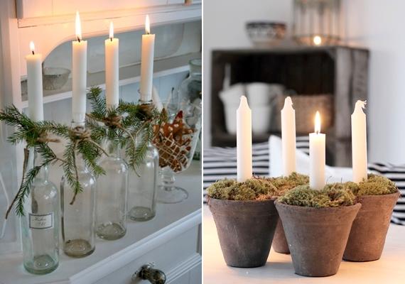 Nemcsak a klasszikus adventi koszorú mutat jól: befőttesüvegek és fenyőágak, vagy virágcserepek és némi moha segítségével egyedi gyertyatartókat kreálhatsz. Mohát akár az interneten is rendelhetsz, de a kertészetekben is kapható.