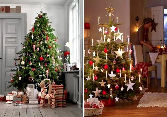 Ha csak pirossal, fehérrel és aranybarnával díszíted a fenyőt, skandináv stílusú karácsonyfát kapsz. A kerek vagy szív alakú textildíszek a fán is jól mutatnak, jellegzetes elemei a skandináv dekorációnak.