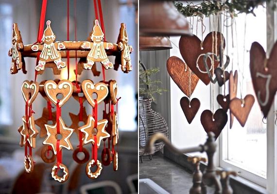 A mézeskalács dekorációs funkciót is betölthet, sőt, ha kreatív vagy, még a formákat is felhasználhatod. Kösd fel őket spárgára vagy piros szalagra ízlés szerint!