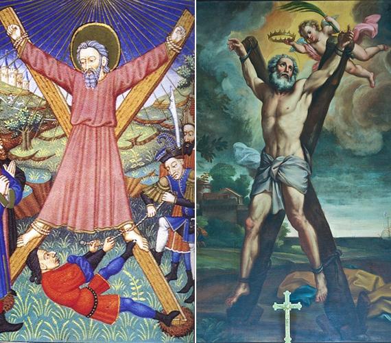 András, csakúgy, ahogyan Jézus, mártírhalált halt. Az achaiai Pátra városában hitvitát folytatott Aegeas prokonzullal, aki bebörtönözte, és keresztre feszíttette. A keresztjét X alakra ácsolták, ezt a formát hívjuk András-keresztnek. A testét nem szögekkel rögzítették, hanem felkötözték.