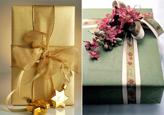 Szárított virággal vagy díszekkel is dekorálhatod a meglepetést, de ne hagyd le a grandiózus masnikat sem.