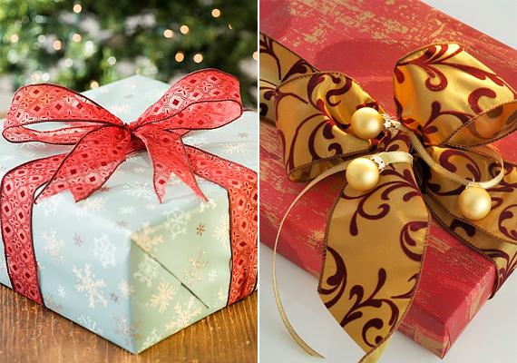 Kötözőszalag helyett selyem- vagy szaténszalaggal is feldobhatod az egyszerű csomagolást.