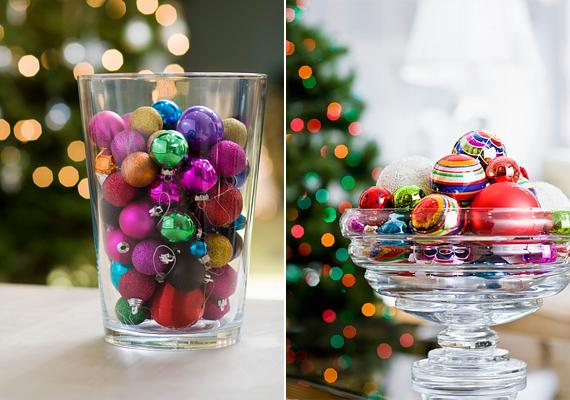 Vegyítsd össze használaton kívüli gömbjeidet, és tedd őket egy átlátszó üvegtálba vagy vázába. Dekoratív és látványos végeredményt kapsz.