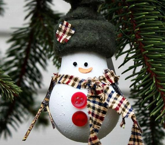 Ez a hóember már nemcsak egy arc, hanem egy teljes alak, ami sapkával, szalagokkal és gombokkal van díszítve.