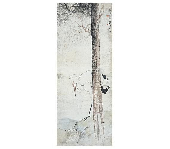 Xu Beihong-Zhang Shuqi: Fenyő alatt vörös bóbitás darumadárAz örök hűség jelképének és a legfőbb szerencsehozónak tartott vörös bóbitás darumadarat, ami a házasság, a házastársi hűség egyik szimbóluma is, a kínai férfieszményt megtestesítő fenyőfa védelmében ábrázolta a két festő.