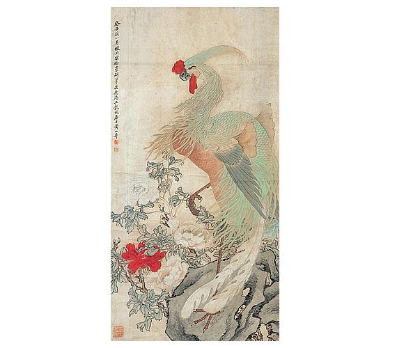 Huang Shanshou: Főnix és bazsarózsa a Song-kori festők stílusábanA főnix a kínaiak négy szent állatának az egyike, az unikornis, a sárkány és a teknős mellett. Ő a madarak királya, aki békét hoz, és miközben eredményesen és legfőképpen igazságosan irányítja országát. A fenséges madár Kínában mindig is az erény és a hűség jelképe volt. A bazsarózsához a régi kínaiak szintén az erényt társították, de a gazdagság és általában véve a boldogulás szimbólumának is tekintették. Nem véletlen, hogy ez a virág rendre feltűnik mind az ókori, mind a modern tusrajzokon.