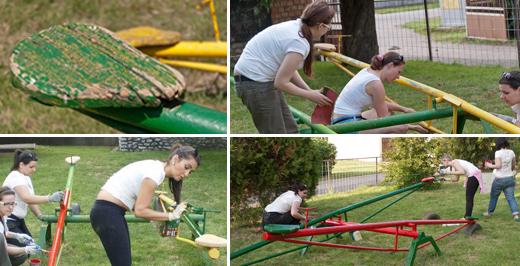 A libikóka új ülőkéket kapott és újrafestettük vidám színekkel.