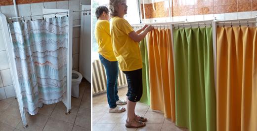 A gyermekmosdóban lecseréltük a régi, elhasznált függönyöket.