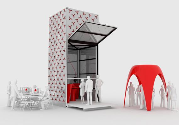 Az amszterdami székhelyű DUS építészei egy hat méter magas nyomtatóval dolgoznak, melyet KamerMakernek, vagyis szobakészítőnek neveztek el.