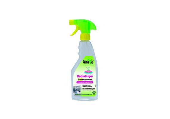 Az Almawin Öko fürdőszobai tisztítószer eltávolítja a vízkő és a zsír okozta szennyeződéseket, emellett a környezetet is óvja.