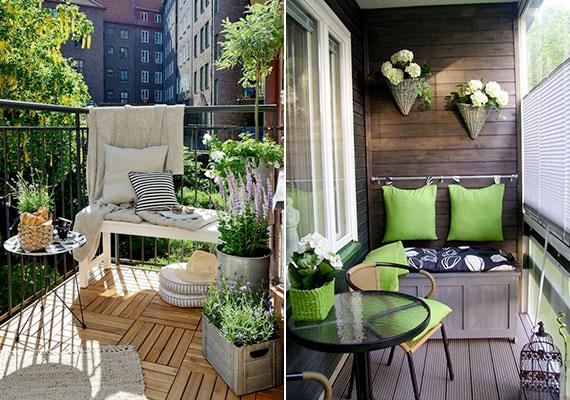 Rusztikus anyagok, virágok, növények, üde zöld, nyers színek - mintha csak a természet folytatása lenne az erkély.