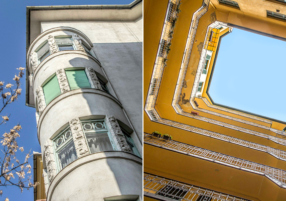 Épület az I. kerületben, az Attila út 107. szám alatt. A fotók Ziszidisz Petrosz munkái.