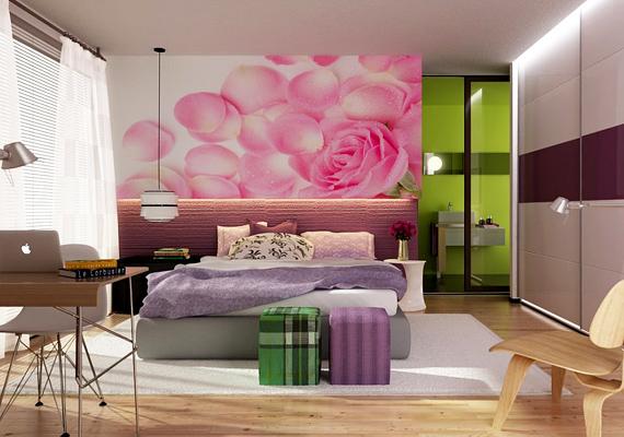 A modern berendezés is lehet ízléses, de ez a rózsás falú hálószoba még csak nem is érinti ezt a kategóriát. Túl sok új irányzatot szeretett volna a tulajdonos egyetlen helyiségbe zsúfolni, amivel megölte az összhatást.